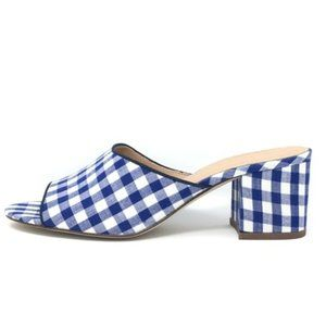 J Crew 'all day' gingham open toe mules size 8